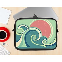 The Vector Retro Green Waves Ink-Fuzed NeoPrene MacBook Laptop Sleeve