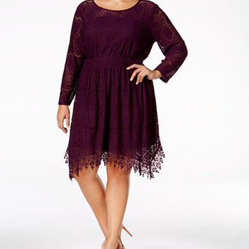 American Rag Trendy Plus Size Crochet Fit & Flare Dress, Only at Macy's - American Rag - Plus Sizes - Macy's