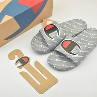 Champion Life Youth Slide Sandals Repeating Logo Grey - Best Online Sale