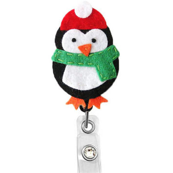 Winter Penguin- Holiday Badge-Name Badge Holder - Nurses Badge Holder-Cute Badge Reels-Unique ID Badge Holder - Felt Badge - RN Badge Reel