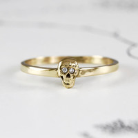 Gold & Diamond Skull Ring, Yellow Gold Catacomb Single Skull Stacking Ring, Alternative Bohemian Engagement Wedding Band, In Stock