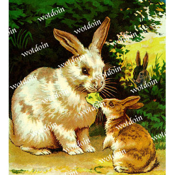 Bunny Rabbit Printable Mother and Baby Farm Easter Color Vintage Print Image Transfer Digital Download Art Print Animals Home Wall Decor