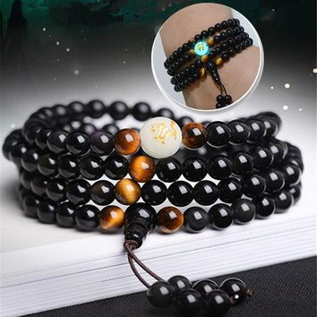 2018 New Natural obsidian carving dragon Buddha Bracelet Necklace tiger eye stone beads bracelet glow in dark rosary bracelets