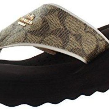 Coach Womens Janice SIG Split Toe Casual T-Strap Sandals