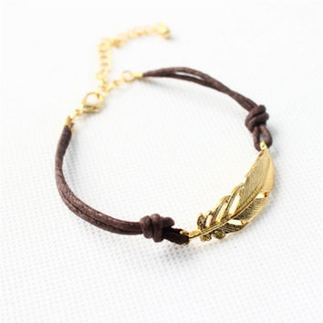 Gift Shiny Awesome New Arrival Great Deal Stylish Simple Design Leaf Hot Sale Accessory Bracelet [11652433679]