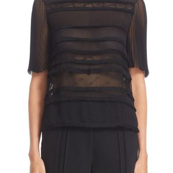 Jason Wu Crinkled Chiffon & Lace Top | Nordstrom