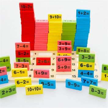 Kids Child Math Toys  Wooden Multicolour Mathematics Math Domino Blocks Early Learning Toy Sets for Children Educational Math