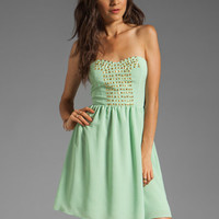 MM Couture by Miss Me Strapless Dress With Studs in Lime from REVOLVEclothing.com