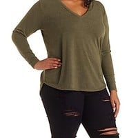 PLUS SIZE ZIPPER-BACK MARLED PULLOVER TOP