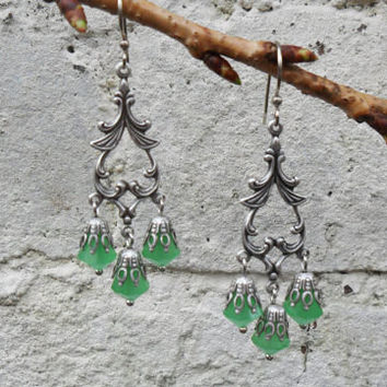 Victorian style chandelier earrings, ornate ox silver plated settings, opal green beads, romantic earrings, evening earrings; UK seller