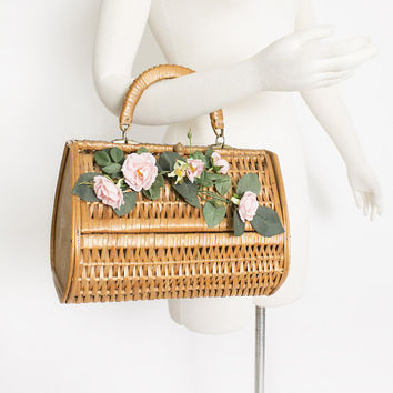 Vintage Basket Purse - 1950s Brown Wood + Wicker Bag Floral Spain 50s