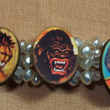 Victorian Retro Circus Faux Pearl Stretch Bracelet Lion Gorilla Dog Boy OOAK Original Altered Jewelry -