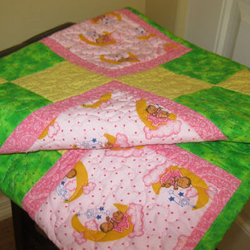 Baby Girl Quilt Baby Dolls Swinging Moons Infant Bedding Toddler Bedding Quilt