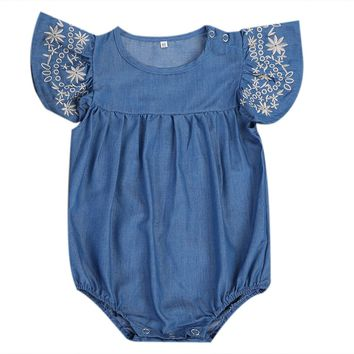 Summer Denim Romper 2017 Newborn Baby Girl Romper Ruffled Sleeve Jumpsuit Playsuit Outfits Sunsuit Clothes Set