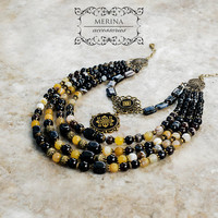 beaded necklace with natural agate   stone, Ukrainian traditional jewelry
