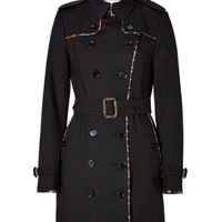 Burberry London - Stretch Cotton Mid-Length Animal Print Trench in Black/Camel