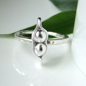 Two Peas in a Pod Peapod Silver Ring by somethingxtraspecial