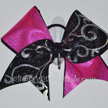 """3"""" Wide Luxury Cheer Bow - Black / Silver Swirl with Pink Shimmer"""