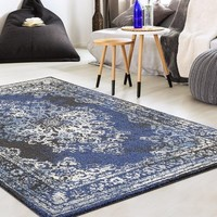 9313 Anthracite Blue Distressed Oriental Area Rugs