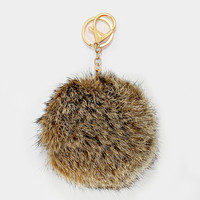 Large Rabbit Fur Pom Pom Keychain, Key Ring Bag Pendant Accessory - Brown