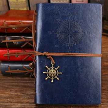Journal Notebook with Faux Leather Cover & Anchor Pendant A6 Size