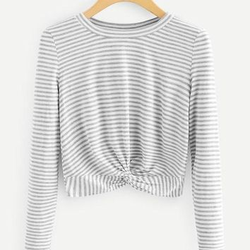 Front Twist Striped Grey Shirt