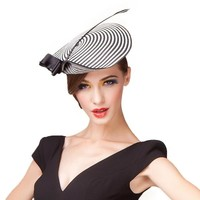 Lady Black And White Striped Vintage Cupid Arrow Hat