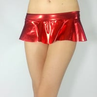 Sexy Red Micro Mini Booty Skirt FREE SHIPPING: Mini Ruffle Skirt for Rave, Music Festivals, EDC, Cosplay, Sexy Red Halloween Costume