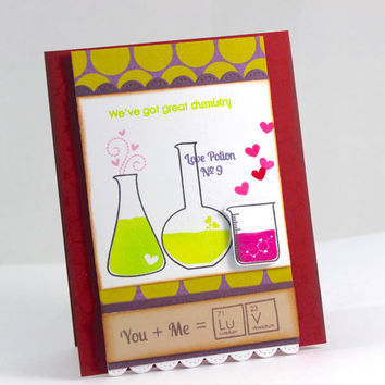 Valentine's Day Card, Geeky Valentine Card, Anniversary Card,  I Love You Card, Chemistry Card, Love Potion, Great Chemistry, Nerdy Card