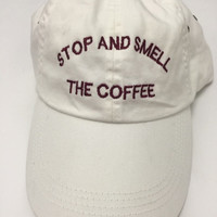 stop and smell the coffee white baseball cap with burgundy embroidery 100% cotton starbucks instagram pinterest tumblr