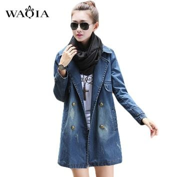 Long Jean jacket 2017 Fashion Spring Women's Clothing Double Breasted coat Denim Jacket Long Loose Holes Women Jacket S-XXXL