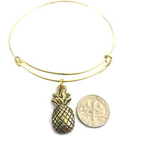 Pineapple Charm Bracelet - Alex and Ani Inspired - Gold Adjustable Bangle - Gold Jewelry - Stacking Bangles