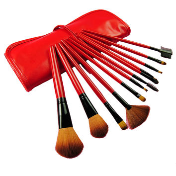 Hot Sale Red 12-pcs Make-up Brush Set = 4830999172