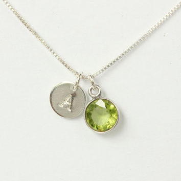 Peridot neckace with sterling silver tiny stamped monogram initial pendant, silver necklace, August birthstone, August birthday gift