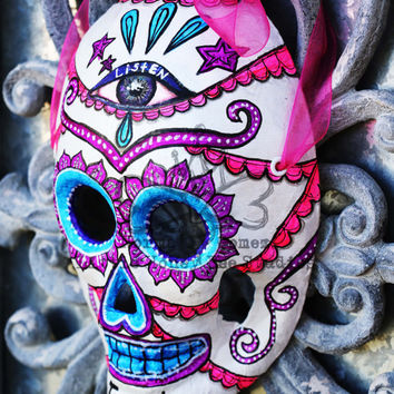 Listen & Trust Dia De Los Muertos Mask - Sugar Skull Mask - Hand Painted Sugar Skull Mask - Mexican Folk Art - Third Eye Mask - Skeleton
