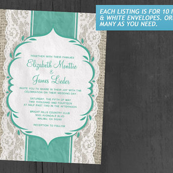 Turquoise Vintage Linen Burlap & Lace Wedding Invitations | Invites | Invitation Cards