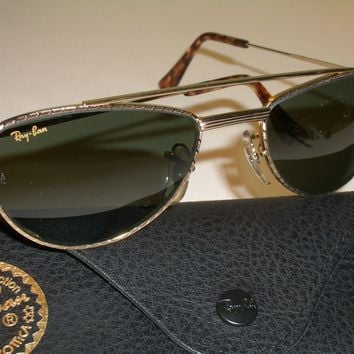 VINTAGE BAUSCH & LOMB RAY BAN W1758 GOLD PLATED COMBO G15 UV AVIATOR SUNGLASSES