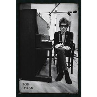 Amanti Art DSW177266 Bob Dylan - Piano: 25.4 x 37.4 Print Framed with Gel Coated Finish