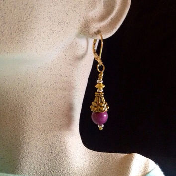 Bohemian Victorian Chic Howlite Gemstone Fuschia Earrings with Bali Gold and Silver Accents - Boho Chic - Trending Womens Jewelry