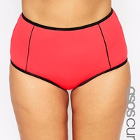 ASOS CURVE Mix & Match High Waist Bikini Bottom with Contrast & Support