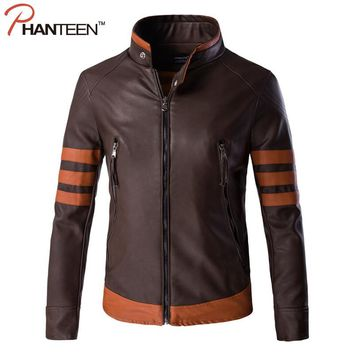 Phanteen Autumn High Quality Faux Leather Man Jackets Stand Collar Zipper Striped Vintage Patchwork Jackets Fashion Men Clothing