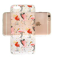 Cute Flamingo Pattern Clear Transparent Plastic Phone Case for iphone Apple Phone SUPERTRAMPshop (iphone 6)