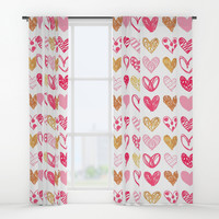 Doodle Hearts Window Curtains by All Is One