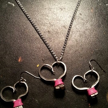 Pink wire wrapped horseshoe nail heart necklace, earrings, or necklace and earrings set jewelry