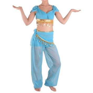 Princess Jasmine Costume Adult Deluxe Belly Dance Aladdin Jasmine Halloween Costume Indian Arabian Princess Cosplay Deguisement