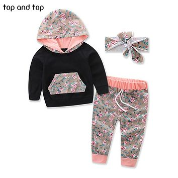 Baby Clothing Sets Winter Sports Floral Hooded Tops Pants Headband Newborn Girls 3Pcs Set Baby Girls Clothes