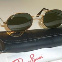 VINTAGE B&L RAY BAN G15 UV GOLD/TORTOISE MIX OVAL AVIATOR SUNGLASSES w/CASE NEW