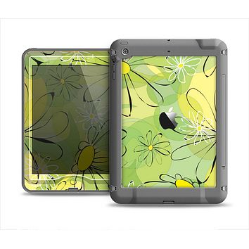 The Vibrant Green Outlined Floral Apple iPad Air LifeProof Nuud Case Skin Set