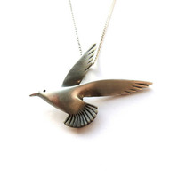 Pewter Bird Pendant Metal Bird Necklace Pewter Seagull Pendant