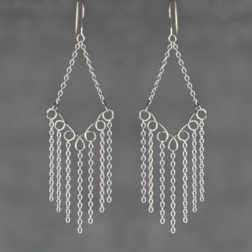 Sterling silver chandelier diamond hoop earrings handmade US free shipping Anni Designs